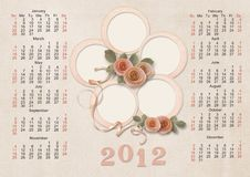 Retro Calendar 2012 for a family - week starts wit Royalty Free Stock Photos