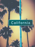 Retro California Sign And Palms Stock Image