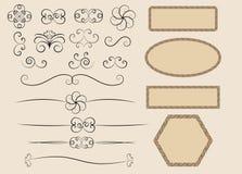 Retro calligraphic design elements. Set of retro calligraphic design elements vector illustration Stock Photos