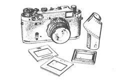 Retro camera with accessories. Retro camera accessories for film photography 35 mm, slides, and film Stock Image
