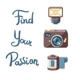 Retro camera and accessories with lettering Royalty Free Stock Photos