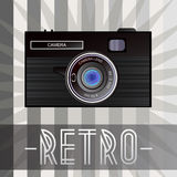 Retro camera. Retro background with old fashioned camera and with inscription Royalty Free Stock Photo