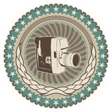 Retro camera badge. Royalty Free Stock Image
