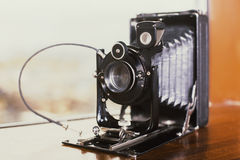 Retro camera closeup Stock Photo