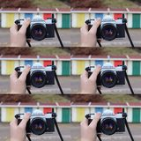 Retro camera collage Stock Images