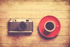 Retro camera and cup Stock Photo