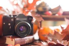 Retro camera in de herfst met heldere rode bladeren op een houten tabl Stock Fotografie