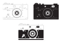 Retro camera in different design options. Vector illustration Stock Photo