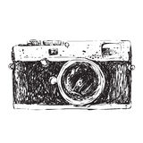 Retro Camera Doodle Stock Photography