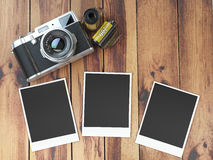 Retro camera, empty photo frames pictures and film canisterrs  o Stock Photography