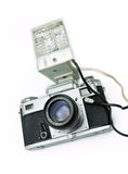 Retro camera with flash Royalty Free Stock Images