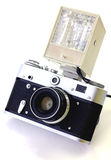 Retro camera and flash isolated Stock Image