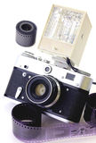 Retro camera and flash isolated Royalty Free Stock Photography