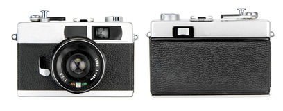 Retro camera front and back isolated on white background Royalty Free Stock Images