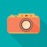 Retro camera icon. Background with old camera. Flat design, long shadows. Vector illustration Stock Photos