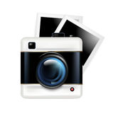 Retro camera icon and photos isolated on white Stock Images