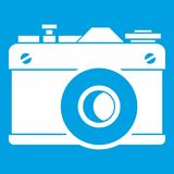 Retro camera icon white. Isolated on blue background vector illustration Royalty Free Stock Images
