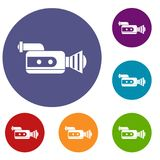 Retro camera icons set. In flat circle reb, blue and green color for web Stock Photography