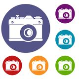 Retro camera icons set. In flat circle reb, blue and green color for web Royalty Free Stock Images