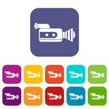 Retro camera icons set. Vector illustration in flat style in colors red, blue, green, and other Stock Photography