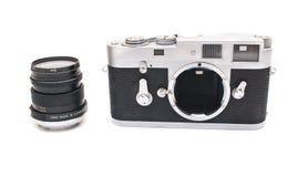 Retro camera isolated. Retro rangefinder photo camera isolated on white royalty free stock image