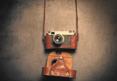 Retro camera in leather case Stock Photo