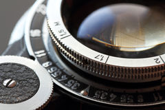 Retro camera lens close-up. Stock Photography