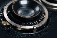 A retro camera lens close-up Stock Photo