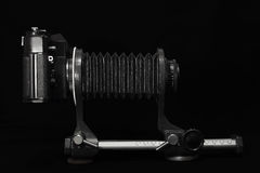 Retro camera macro. Analog retro photo camera on a dark background Stock Photos