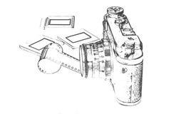 Retro camera met toebehoren stock illustratie