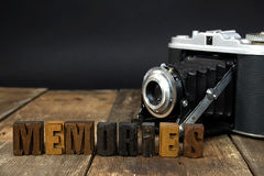 Retro camera and old letterpress type Stock Photo