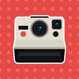 Retro camera on pattern background Royalty Free Stock Photos
