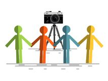 Retro Camera with People. Isolated stock illustration