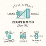 Retro Camera Photography Set. Vector Labels or Royalty Free Stock Image