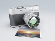 Retro camera with Photos 3d Royalty Free Stock Photo