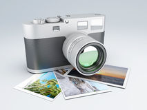 Retro camera with Photos 3d Stock Image