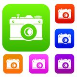 Retro camera set collection. Retro camera set icon in different colors isolated vector illustration. Premium collection Stock Photography