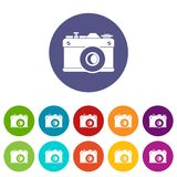 Retro camera set icons. In different colors isolated on white background Stock Photos