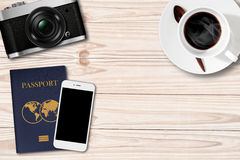 Retro camera,Smartphone and passport on Coffee Table Stock Photos