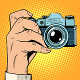 Retro camera snapshot selfie Royalty Free Stock Images