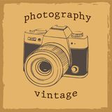 Retro camera vitage sketch 1960 old background. Vector. Illustration stock illustration