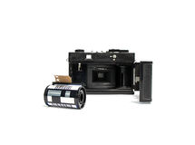 Retro camerafilm en de film van de Patrooncamera 35 mm Stock Foto's