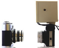 Retro cameras isolated Stock Images