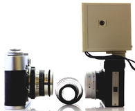 Retro cameras and tape isolated Stock Photography