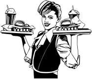Retro cameriera di bar illustrazione di stock