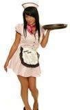 Retro cameriera di bar con il cassetto Fotografie Stock