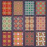 Retro camice delle carte della raccolta con le origini etniche Carta dell'invito con gli elementi d'annata di progettazione Immagine Stock