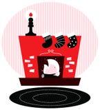 Retro camino con le calze di Natale (rosso e illustrazione vettoriale