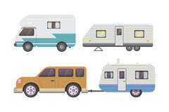 Retro camper trailer collection. car trailers caravan. tourism. Stock Images
