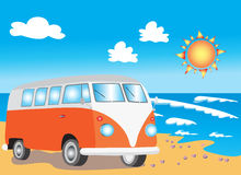 Retro camper van on beach. A vector illustration of a retro orange camper van waiting for the surf on an idyllic beach with  blazing sunshine and three fluffy Royalty Free Stock Image